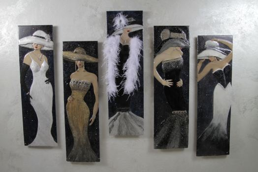 "Midnight Illusions Series (12""x42""/panel-set of 5 panels)"